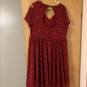 torrid Dresses - RED LACE T-SHIRT SKATER DRESS